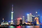 Shanghai night panorama over Huangpu River with skyline and urban buildings.