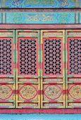 Doorway in historical architecture in Forbidden City in Beijing, China.