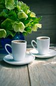 foto of helleborus  - helleborus flowers in the vase and cup of coffee on the old table - JPG