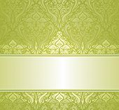 Green & white pale ornamental vintage invitation design