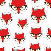 Hipster seamless pattern with red lady fox.
