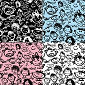 Set Of Seamless Patterns. Cartoon Faces With Different Emotions. Handdrawn Images And Handwritten Te