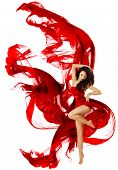 Woman Dancing In Red Dress, Fashion Model Dance Whit Waving Fluttering Fabric Over White Background
