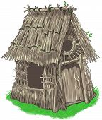stock photo of baby pig  - Fairy house of sticks and twigs  - JPG