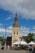 Oslo, Norway - July 15, 2013: Shopping at Flower Market near Oslo Cathedral