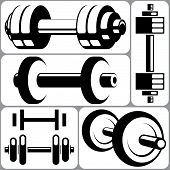 Barbell icons set