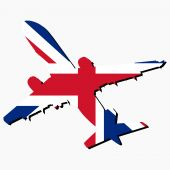 Plane Silhouette With British Flag