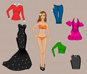 girl in a bathing suit with a set of different clothes for cutting