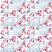 Patchwork Seamless Lace Floral Roses Pattern