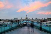 St Pauls Cathedral View From The Millennium Bridge At Sunset, London