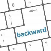 Backward Word On Computer Keyboard Key Button