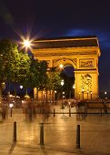 Arc De Triomphe And Ghost Of Pedestrians