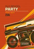 Retro party poster with ghetto blaster. Vector illustration.
