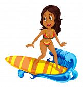 Illustration of a tan girl surfing on a white background