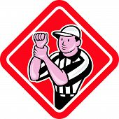 image of umpire  - Illustration of an american football official referee with hand signal signalling illegal use of hands facing front set inside diamond shape done in cartoon style - JPG