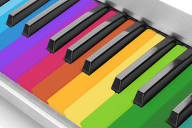 picture of rainbow piano  - Colorful piano keyboard close - JPG
