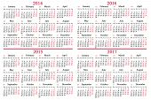 Usual Calendar For 2014 - 2017 Years
