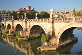 Picturesque view of Saint Angel Bridge over the Tiber river in Rome, Italy