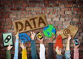 Hands Holding Symbols Data Concept