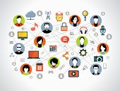 Flat design background the Communications in a global computer network. Ã??Ã???vatars set on world map background surrounded interface icons. Social media concept.