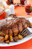 Roast with backed potatoes