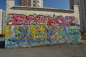 KIEV, UKRAINE - OCT 14, 2014: Colored background.Graffiti on a wall..October 14, 2014 Kiev, Ukraine