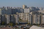 KIEV, UKRAINE - OCT 14, 2014: Modern residential area. A recently built block of apartments .Aerial