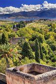 Alhambra Castle Tower Cityscape Farm Sierra  Nevada Mountains Granada Andalusia Spain