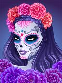 Day of dead sugar skull woman