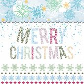 Christmas greeting card Merry Christmas lettering