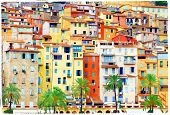 colors of mediterraneans. Houses of Menton, artstic picture