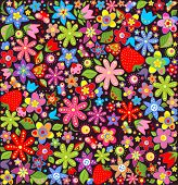 Spring wallpaper with flowers and strawberry