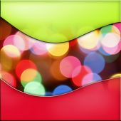 Colorful circles of light abstract background with green and red borders