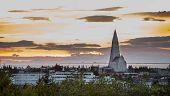 Hallgrimskirkja Church at sunset in Reykjavik, Iceland