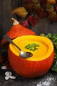 Pumpkin soup for halloween party or thanksgiving day concept