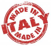 Made in Italy words on a round red stamp, badge or icon to illustrate pride in goods and products ex