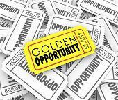 Golden Opportunity words on a gold or yellow ticket to illustrate great potential and possibility