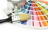 stock photo of paint brush  - Paint color chart sample swatches paint brush and can - JPG