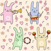 ?ute bunnies seamless pattern