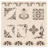 Set of vector damask ornaments