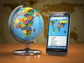 Travel and tourism concept. Mobile phone and globe. 3d