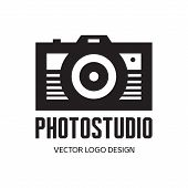 Photo studio - vector logo design. Photo camera vector illustration in minimalistic style.