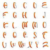 Ribbon Alphabet, Latin Letters Vector