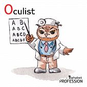 Alphabet professions Owl Letter O - Oculist character Vector Watercolor.