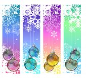 Four abstract vertical winter banners with glass balls