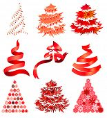 Collection of  red stylized Christmas trees
