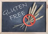 image of universal sign  - Gluten free handwritten on a blackboard with a red universal no sign on wheat spikes - JPG
