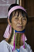 Traditional Myanmar Kayan woman, or Giraffe woman