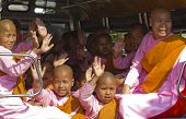 Little Girl Monks In A Van