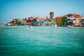 Beautiful small island with the port of Burano island near Venice Italy.